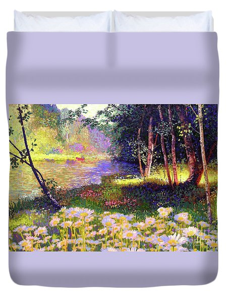 Enchanted By Daisies, Modern Impressionism, Wildflowers, Silver Birch, Aspen Duvet Cover