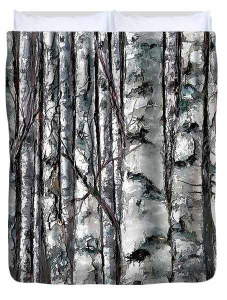 Enchanted Forest -black And White Duvet Cover