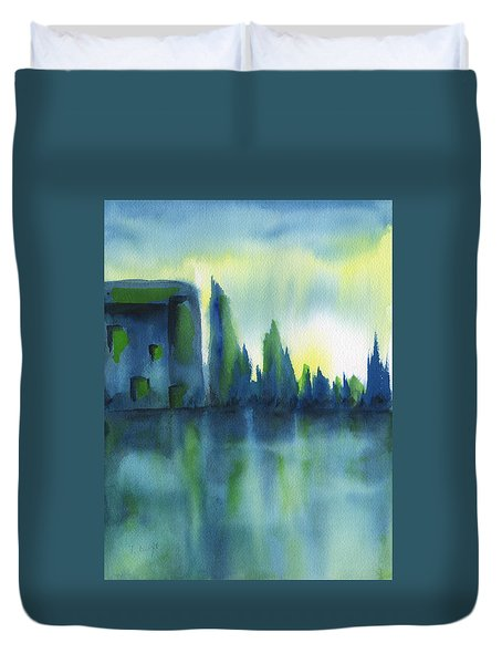 Duvet Cover featuring the painting Enchanted Forest by Frank Bright