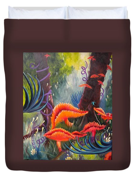 Duvet Cover featuring the painting Enchanted Forest by Renate Nadi Wesley