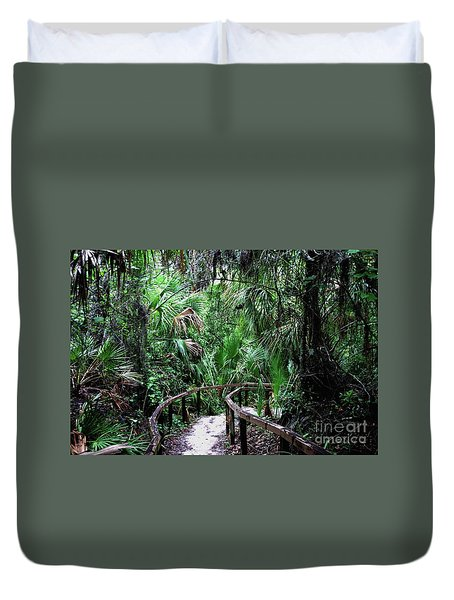 Duvet Cover featuring the photograph Enchanted Walk by Gary Wonning