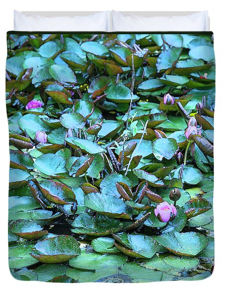 Painted Water Lilies Duvet Cover by Theresa Tahara