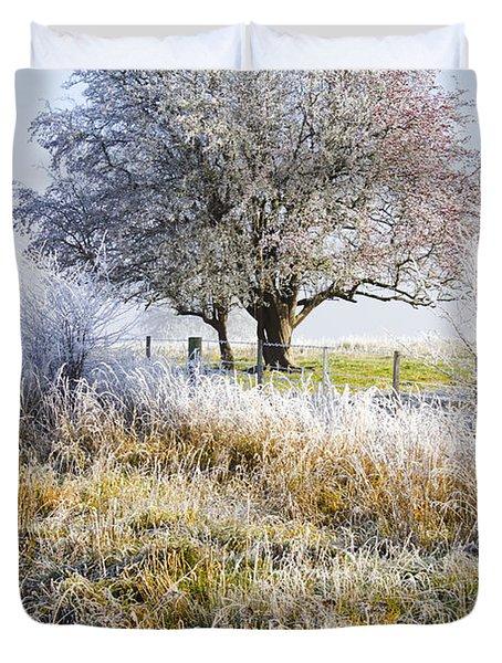 Enchanting Snow Covered Landscape Duvet Cover