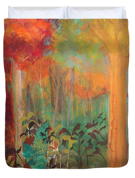 Duvet Cover featuring the painting Enchantment In Autumn by Robin Maria Pedrero