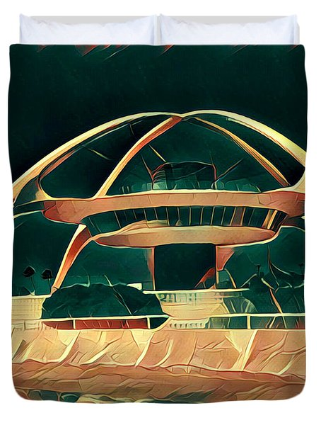 Encounter Restaurant Atop Lax Theme Building Duvet Cover