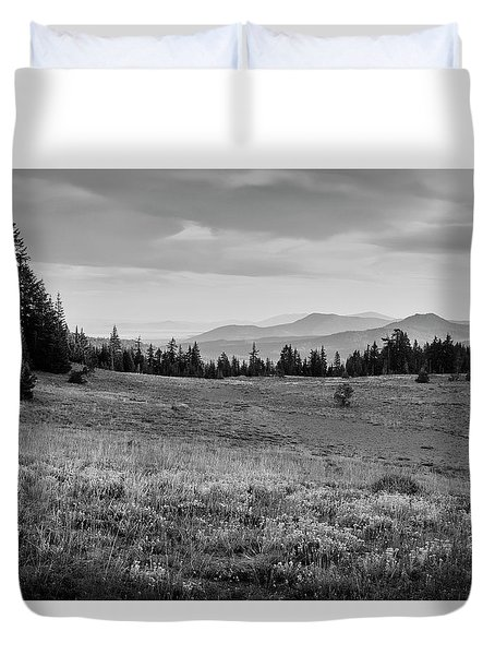 Duvet Cover featuring the photograph End Of Day In B W by Frank Wilson