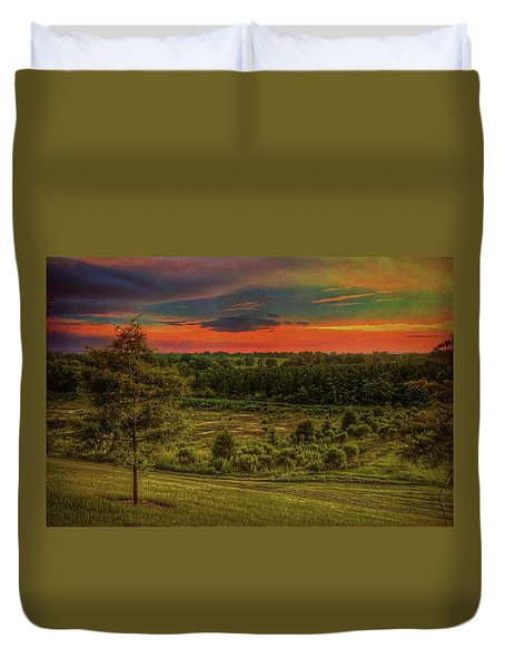 Duvet Cover featuring the photograph End Of Day by Lewis Mann