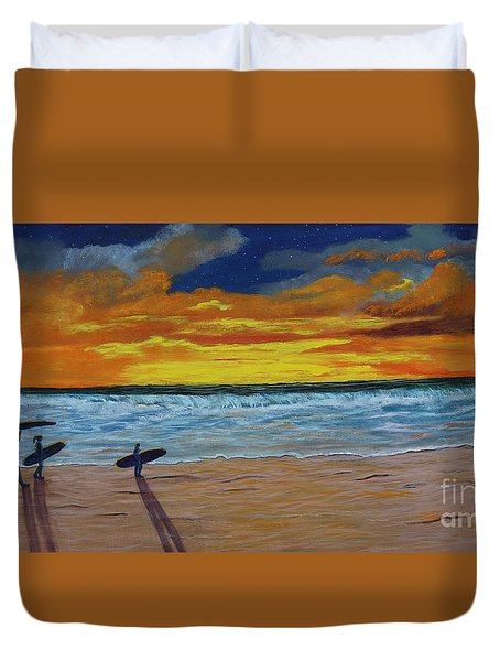Duvet Cover featuring the painting End Of Day by Myrna Walsh