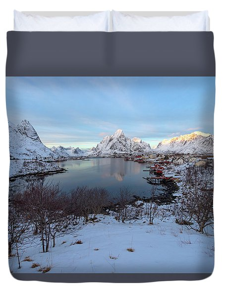 Duvet Cover featuring the photograph End Of Day, Reine, Lofoten,  by Dubi Roman