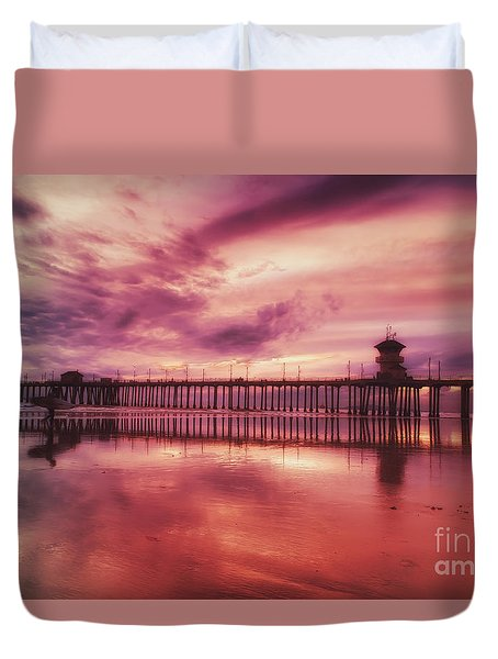 End Of Days At The Pier Duvet Cover