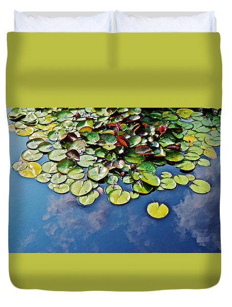 End Of July Water Lilies In The Clouds Duvet Cover