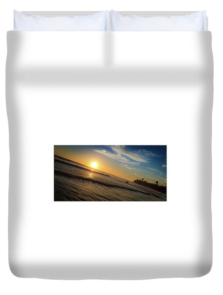 Duvet Cover featuring the photograph End Of Summer Sunset Surf by T Brian Jones