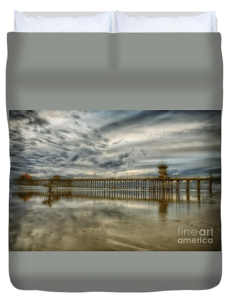 End Of Sunset Surf At Pier Duvet Cover