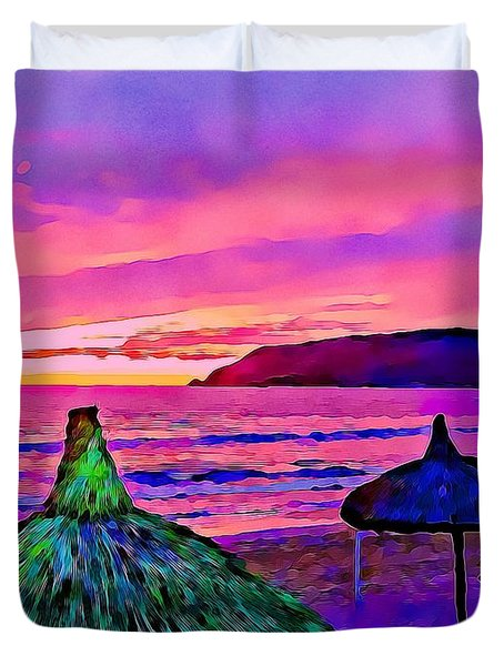 End Of The Beach Day In Mazatlan Duvet Cover