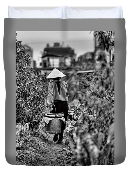 End Of The Day Vietnamese Woman  Duvet Cover
