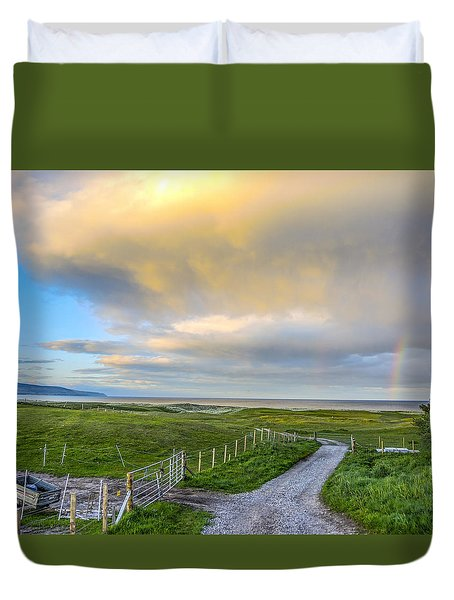End Of The Road, Brora, Scotland Duvet Cover by Sally Ross