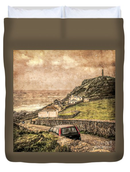 End Of The Road Cape Cornwall Duvet Cover