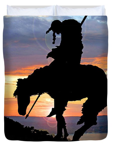 End Of The Trail Sculpture In A Sunset Duvet Cover