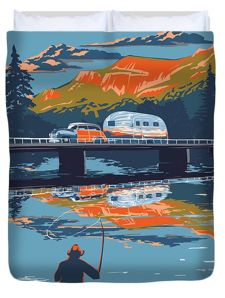 Enderby Cliffs Retro Airstream Duvet Cover