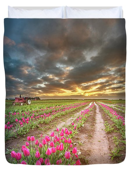Duvet Cover featuring the photograph Endless Tulip Field by William Lee