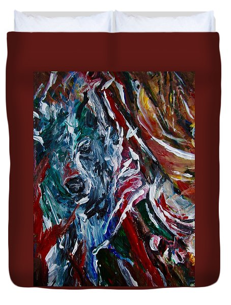 Duvet Cover featuring the painting Energy Of Fire by Dawn Fisher