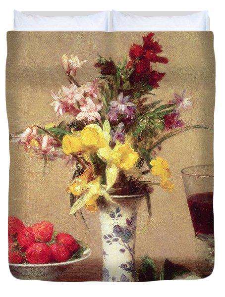 Engagement Bouquet Duvet Cover by Ignace Henri Jean Fantin-Latour