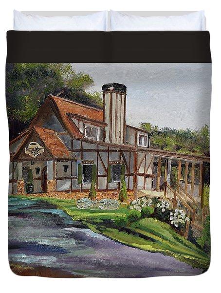 Duvet Cover featuring the painting Engelheim In The Morning - Vineyard - Ellijay, Ga by Jan Dappen