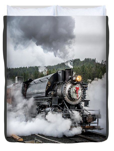 Engine No. 17 Elbe Christmas Train Duvet Cover