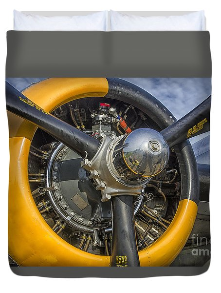 Engine Of B-25 Duvet Cover by JRP Photography