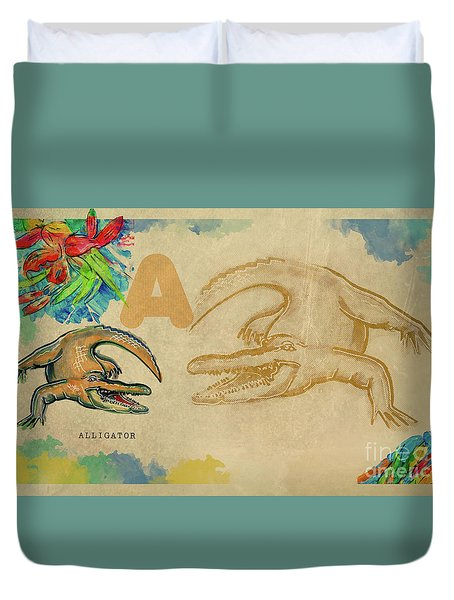 Duvet Cover featuring the drawing English Alphabet , Alligator  by Ariadna De Raadt