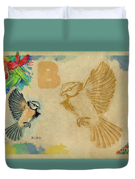 Duvet Cover featuring the drawing English Alphabet , Bird by Ariadna De Raadt