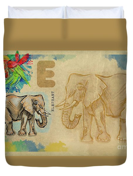 Duvet Cover featuring the drawing English Alphabet , Elephant by Ariadna De Raadt