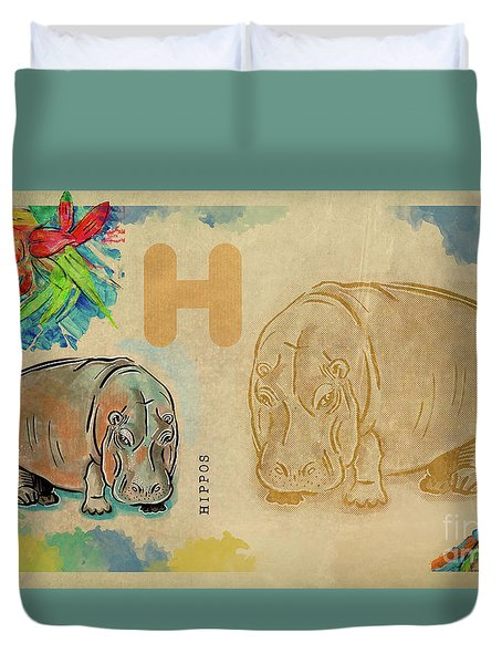 Duvet Cover featuring the drawing English Alphabet ,  Hippos by Ariadna De Raadt