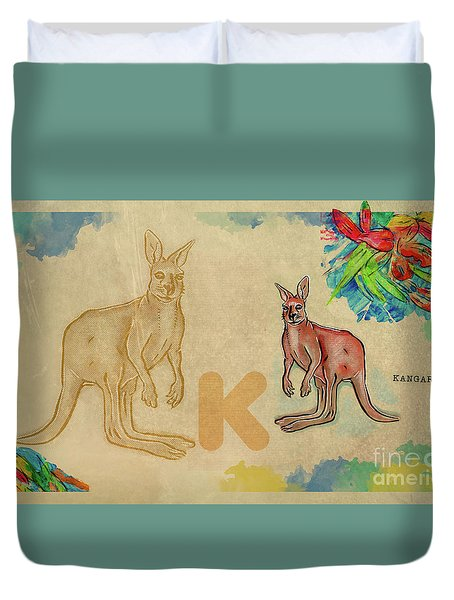 Duvet Cover featuring the drawing English Alphabet , Kangaroo by Ariadna De Raadt