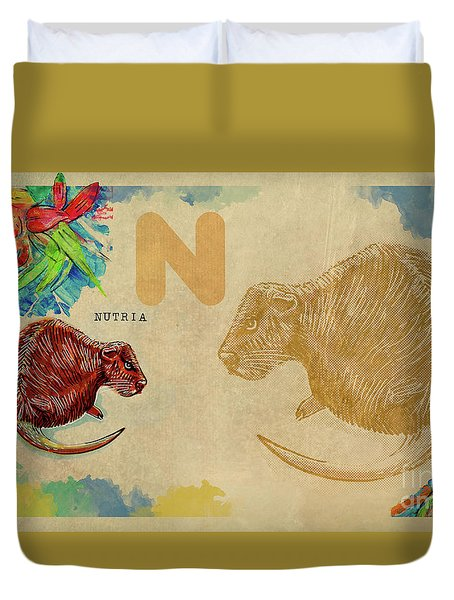 Duvet Cover featuring the drawing English Alphabet , Nutria by Ariadna De Raadt