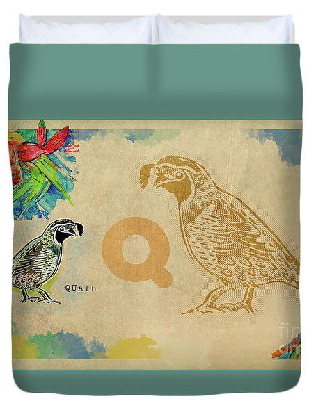 Duvet Cover featuring the drawing English Alphabet , Quail by Ariadna De Raadt