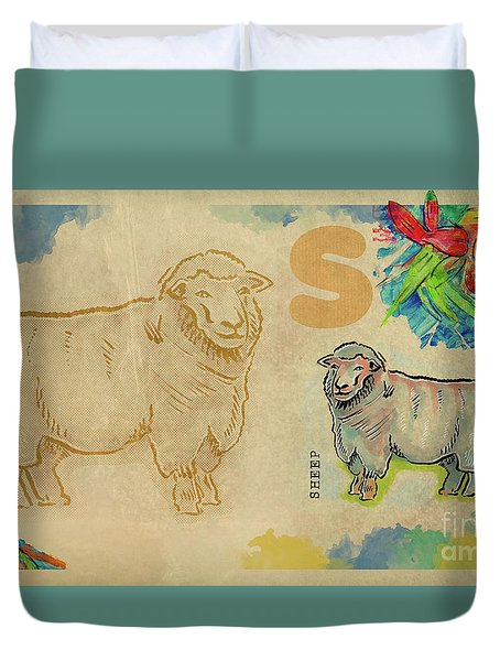 Duvet Cover featuring the drawing English Alphabet , Sheep  by Ariadna De Raadt