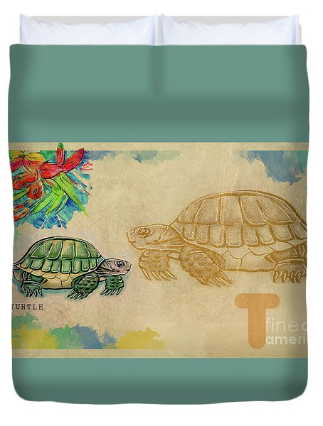 Duvet Cover featuring the drawing English Alphabet , Turtle  by Ariadna De Raadt