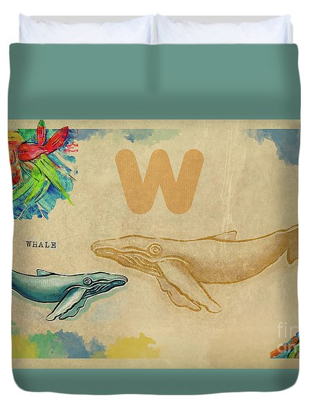 Duvet Cover featuring the drawing English Alphabet , Whale by Ariadna De Raadt