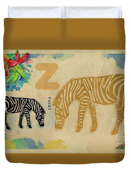 Duvet Cover featuring the drawing English Alphabet , Zebra by Ariadna De Raadt