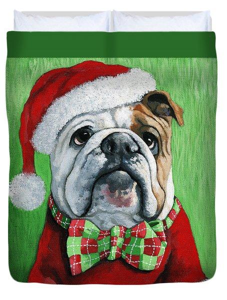 Holiday Cheer -english Bulldog Santa Dog Painting Duvet Cover
