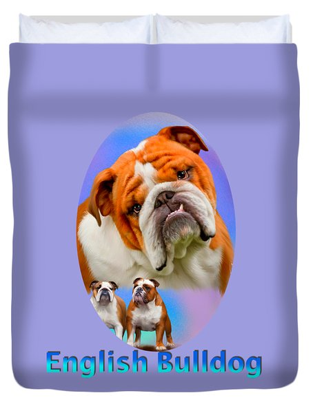 English Bulldog With Border Duvet Cover