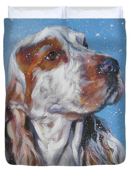 English Cocker Spaniel In Snow Duvet Cover by Lee Ann Shepard