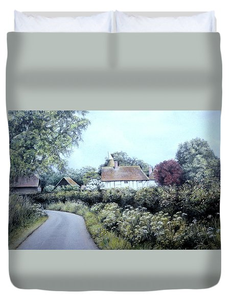 Duvet Cover featuring the painting English Country Lane by Rosemary Colyer