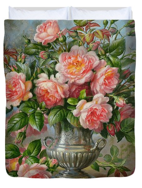 English Elegance Roses In A Silver Vase Duvet Cover by Albert Williams