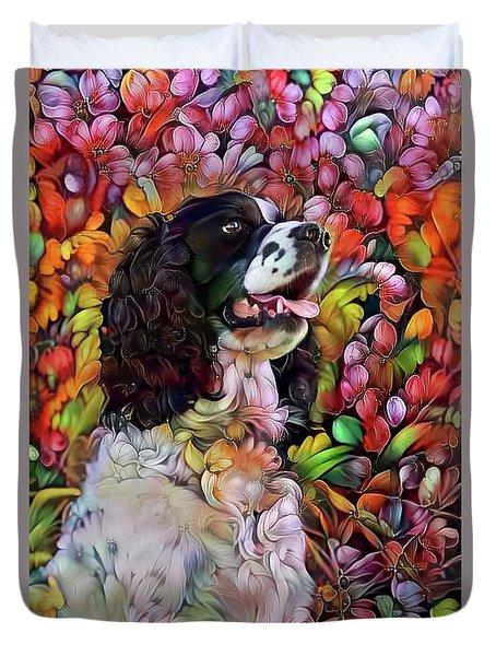English Springer Spaniel In The Garden Duvet Cover