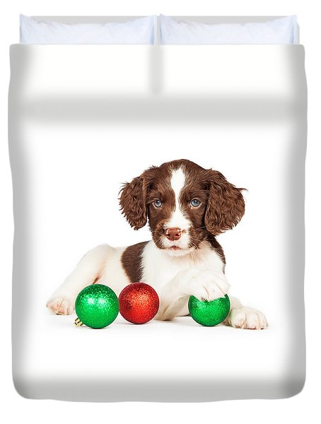 English Springer Spaniel Puppy With Christmas Baubles Duvet Cover