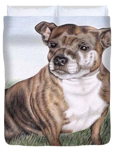 English Staffordshire Terrier Duvet Cover by Nicole Zeug