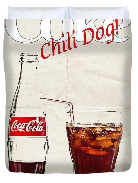 Enjoy Coca-cola With Chili Dog Duvet Cover