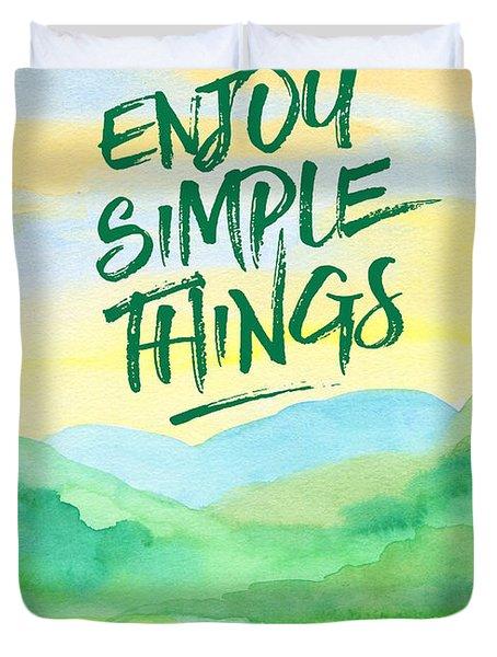 Enjoy Simple Things Rice Paddies Watercolor Painting Duvet Cover